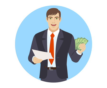 Businessman with cash money holding a paper. Portrait of businessman in a flat style. Vector illustration.