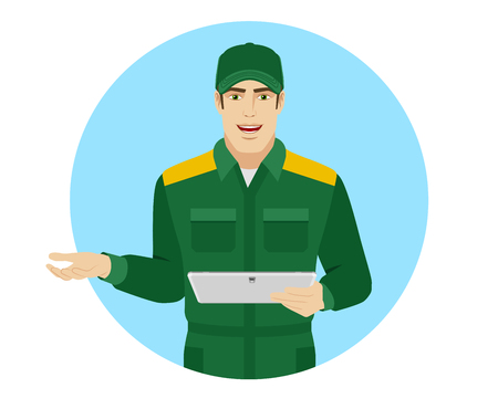 Worker holding digital tablet PC and gesturing.  Portrait of Delivery man or Worker in a flat style. Vector illustration.