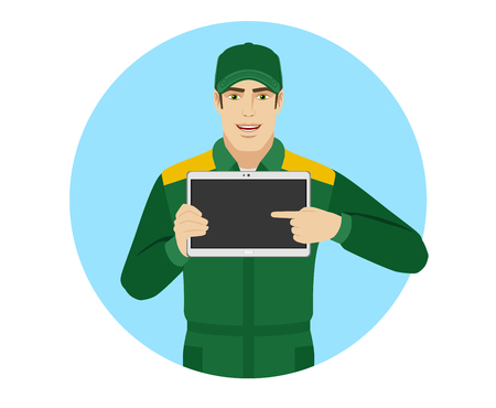 Man in uniform pointing at blank digital tablet PC. Portrait of Delivery man or Worker in a flat style. Vector illustration.