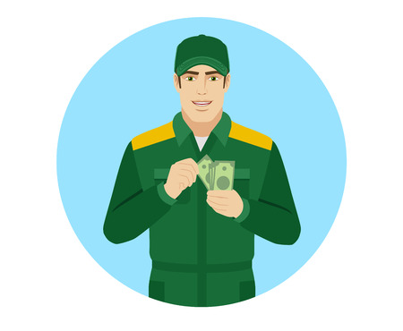 Man in uniform counts the money. Portrait of Delivery man or Worker in a flat style. Vector illustration. Illustration