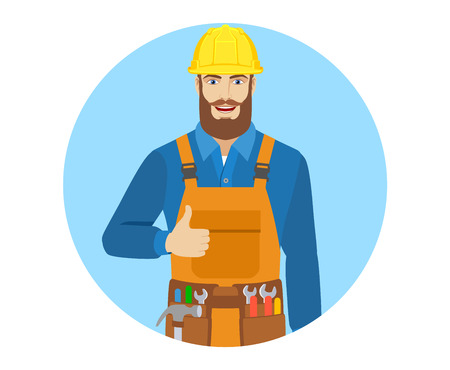 Worker shows thumb up. Portrait of worker in a flat style. Vector illustration.
