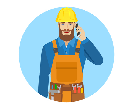Worker talking on the mobile phone. Portrait of worker in a flat style. Vector illustration. Illustration