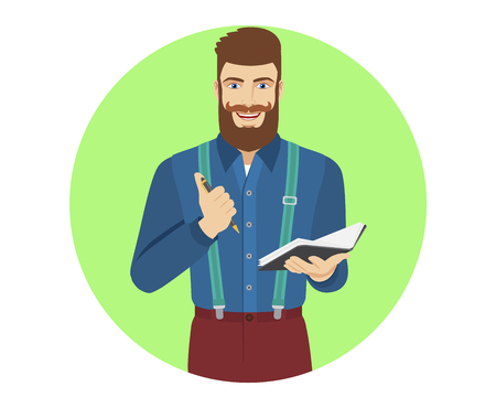 jotter: Hipster with pen and pocketbook. Portrait of hipster in a flat style. Vector illustration.