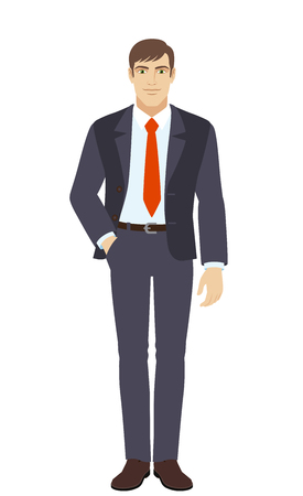 Businessman standing with hand in pocket. Full length portrait of businessman in a flat style. Vector illustration. Illustration