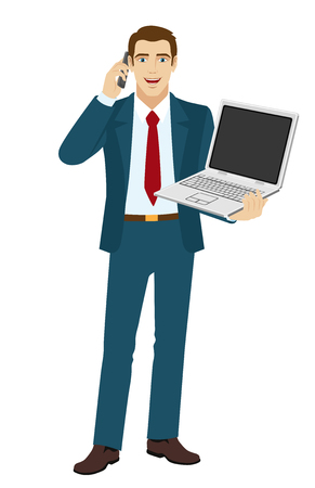 Businessman holding laptop notebook and talking on the mobile phone. Full length portrait of businessman in a flat style.  Vector illustration.