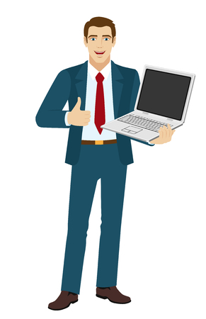 Businessman holding laptop notebook and showing the thumb up. Full length portrait of businessman in a flat style.  Vector illustration.