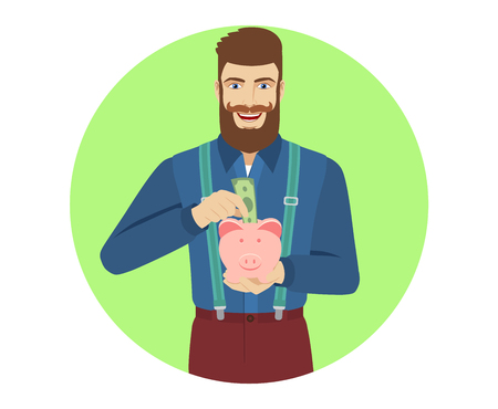 Hipster puts banknote in a piggy bank. Portrait of hipster in a flat style. Vector illustration. Ilustracja
