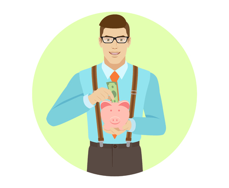 Businessman puts banknote in a piggy bank. A man wearing a tie and suspenders. Portrait of businessman in a flat style. Vector illustration. Ilustracja