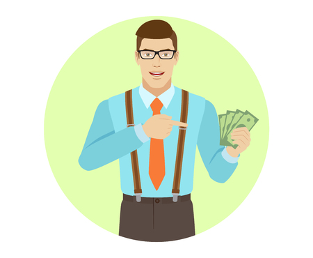 Businessman pointing at cash money in his hand. A man wearing a tie and suspenders. Portrait of businessman in a flat style. Vector illustration.