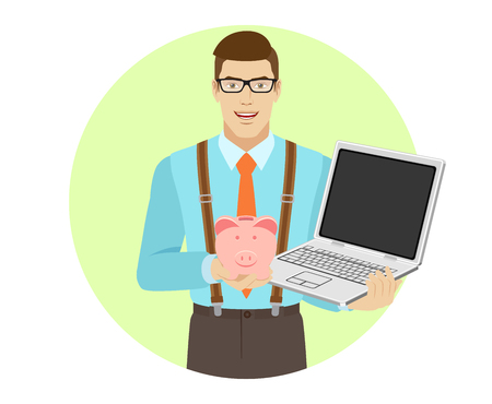 Businessman holding laptop notebook and piggy bank. A man wearing a tie and suspenders.