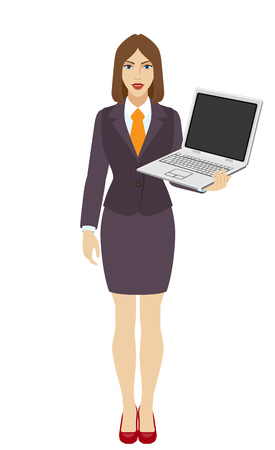 Businesswoman holding a laptop notebook PC. Full length portrait of businesswoman in a flat style. Vector illustration.