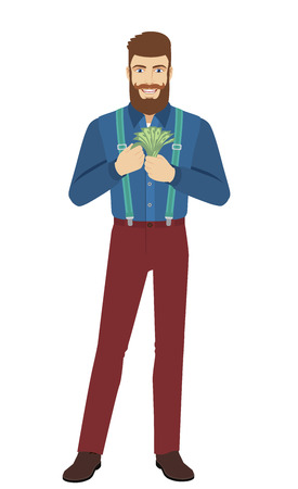 Hipster counts the cash money. Full length portrait of hipster in a flat style. Vector illustration. Illustration