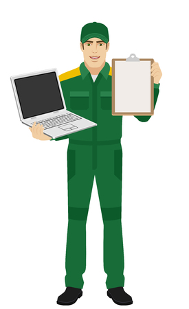 Worker holding laptop notebook and clipboard. Full length portrait of Delivery man or Worker in a flat style. Vector illustration.