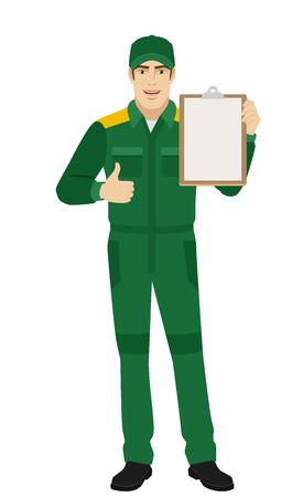 Trabajador que sostiene el tablero y que muestra el pulgar para arriba. Retrato de longitud completa del hombre o trabajador de entrega en un estilo plano. Ilustración vectorial