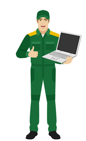 Worker holding laptop notebook and showing thumb up. Full length portrait of Delivery man or Worker in a flat style. Vector illustration. Illustration