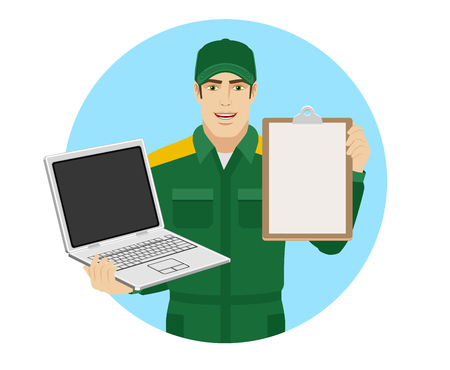 Worker holding laptop notebook and clipboard. Portrait of Delivery man or Worker in a flat style. Vector illustration. Illustration