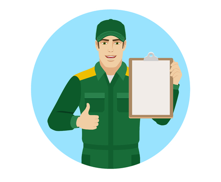 Worker holding clipboard and showing thumb up. Portrait of Delivery man or Worker in a flat style. Vector illustration. Illustration