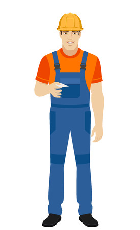 Builder gives a business card. Full length portrait of builder in a flat style. Vector illustration.