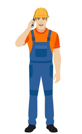 Builder talking on the mobile phone. Full length portrait of builder in a flat style. Vector illustration. Illustration