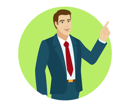 Businessman pointing up. Portrait of businessman in a flat style. Vector illustration.