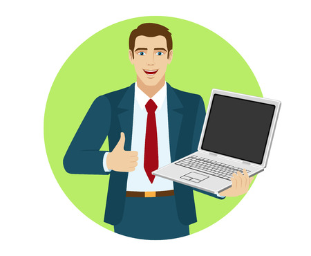 Businessman holding laptop notebook and showing the thumb up. Portrait of businessman in a flat style. Vector illustration. Illustration
