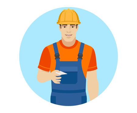 Builder gives a business card. Portrait of builder in a flat style. Vector illustration.