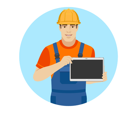 Builder showing blank digital tablet PC. Portrait of builder in a flat style. Vector illustration.