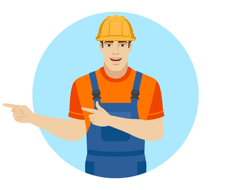 Builder howing something beside of him. Portrait of builder in a flat style. Vector illustration. Illustration