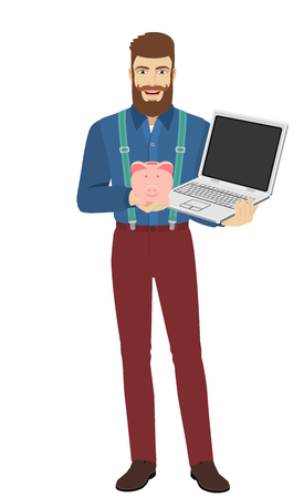 Hipster holding a piggy bank and laptop notebook. Full length portrait of hipster in a flat style. Vector illustration.