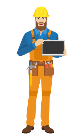 Worker showing blank digital tablet PC. Full length portrait of worker in a flat style. Vector illustration.
