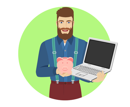 Hipster holding a piggy bank and laptop notebook. Portrait of hipster in a flat style. Vector illustration. Ilustracja