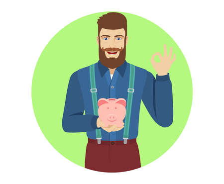 Hipster holding a piggy bank showing a okay hand sign. Portrait of hipster in a flat style. Vector illustration. Ilustracja