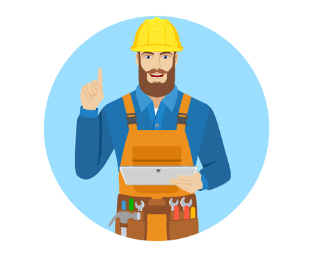 Worker holding digital tablet PC and pointing up. Portrait of worker in a flat style. Vector illustration.