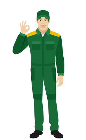 Worker showing a okay hand sign. Full length portrait of Delivery man or Worker in a flat style. Vector illustration.