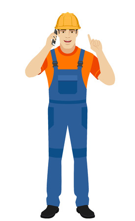 Builder talking on the mobile phone and pointing up. Full length portrait of builder in a flat style. Vector illustration. Illustration