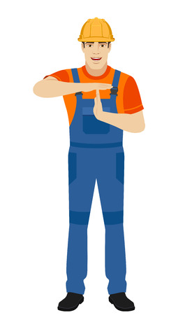 intermission: Builder showing time-out sign with hands. Body language. Full length portrait of builder in a flat style. Vector illustration.