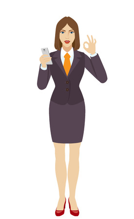 allright: Businesswoman using a mobile phone and  show a okay hand sign. Full length portrait of businesswoman in a flat style. Vector illustration.