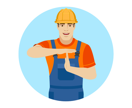 intermission: Builder showing time-out sign with hands. Body language. Portrait of builder in a flat style. Vector illustration.