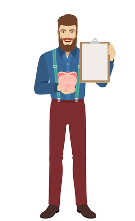Hipster holding piggy bank and clipboard. Full length portrait of hipster in a flat style. Vector illustration.