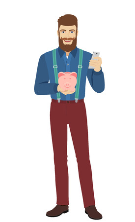 reggicalze: Hipster holding mobile phone and piggy bank. Full length portrait of hipster in a flat style. Vettoriali