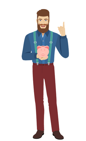 Hipster holding a piggy bank and pointing up. Full length portrait of hipster character in a flat style. Illustration