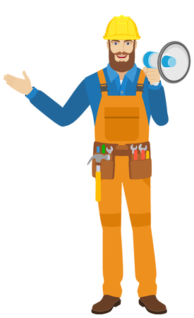 Welcome! Worker with loudspeaker shows something beside of him. Full length portrait of worker character in a flat style. Vector illustration. Illustration