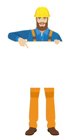 Worker pointing at white blank poster. Full length portrait of worker character in a flat style. Vector illustration. Illustration