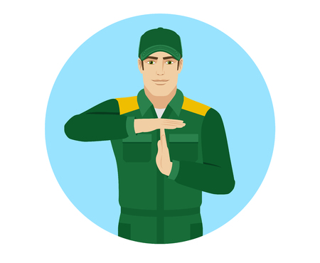 roofer: Worker showing time-out sign with hands. Body language. Portrait of Delivery man or Worker in a flat style. Vector illustration. Illustration