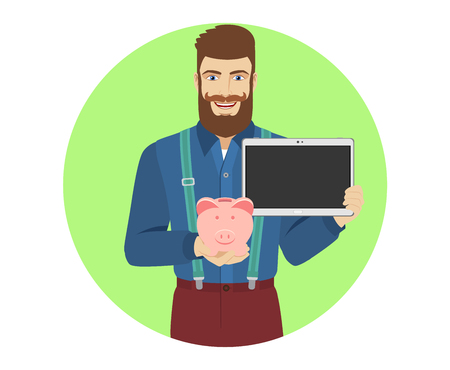Hipster holding a piggy bank and digital tablet. Portrait of hipster character in a flat style. Vector illustration.