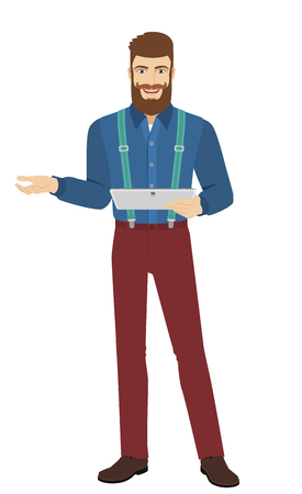 Hipster holding digital tablet PC gesturing. Full length portrait of hipster in a flat style. Illustration