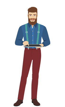 Hipster using digital tablet PC. Full length portrait of hipster in a flat style. Vector illustration.
