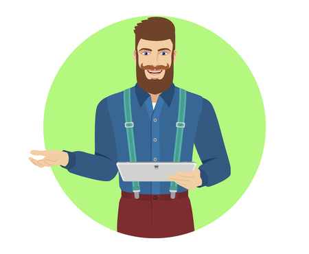 Hipster holding digital tablet PC gesturing. Portrait of hipster character in a flat style. Vector illustration.