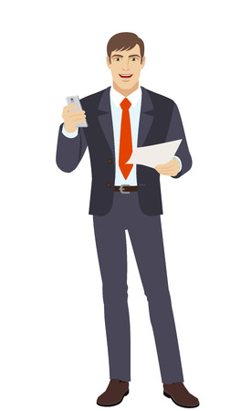 Businessman with mobile and paper. Full length portrait of businessman in a flat style. Vector illustration.