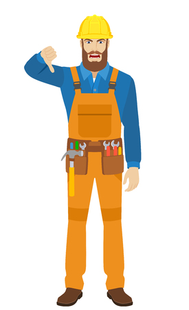 Worker showing thumb down gesture as rejection symbol. Full length portrait of worker character in a flat style. Vector illustration.